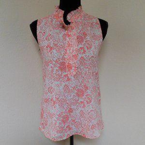J. Crew Factory Pink Floral Ruffle Collar Shirt